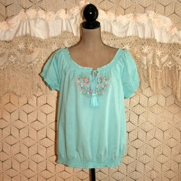 Mint Blue Boho Peasant Top Ethnic Mexican Cotton Blouse Embroidered Short Sleeve Blouse Boho Top Hippie Top Medium Womens Clothing