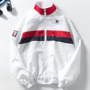 Fila Couple Fashion Cotton Long Sleeve Cardigan Jacket Coat