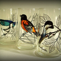 Vintage Anchor Hocking Tumblers with Etched Birds Set of 3