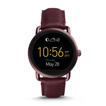 Q Wander Touchscreen Wine Leather Smartwatch - $295.00