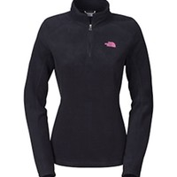 Gliks - The North Face Pink Ribbon Glacier Quarter Zip Fleece Pullover for Women in Black