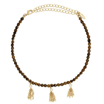 Cluster Must Have Choker in Tiger's Eye and Gold