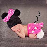 Disney Pink Mini Mouse Crochet Set Baby Girl Costume for Photography Prop