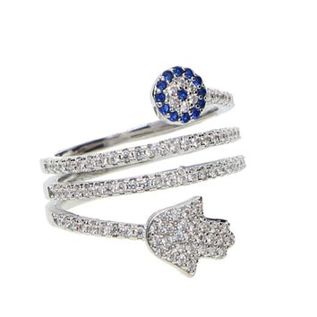 2018 fashion design silver color micro pave cz sparking bling top quality hamsa hand evil eye charm turkish lucky fashion ring