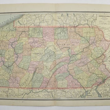 1887 Vintage Map Pennsylvania, Virginia Map West Virginia, Antique Wall Map, PA Art Map, Art Gift for New Home, Maryland Map Delaware