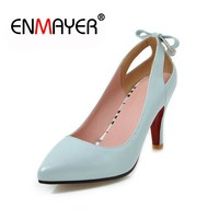 ENMAYER Shoes Woman Spring High Heel Pumps Wedding Shoes Pumps Sexy Point Toe Female Single Shoes Spike Heel Party Lady Shoes