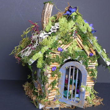 Charming fairy house with hidden living space. Fairy apothecary, fairy cottage, fairy funiture, fairy garden, indoor garden, Christmas gift!