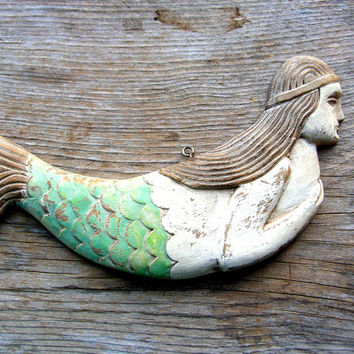 Wooden Mermaid Wall Art shop folk art mermaid on wanelo