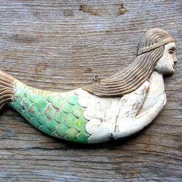 Wooden Mermaid Wall Decor shop folk art mermaid on wanelo