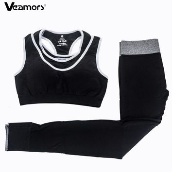 VEAMORS Women Absorb Sweat Yoga Sets Fitness Sports Bra + Elastic Leggings Pants Sport Suit Gym Jogging Workout Running Set Suit