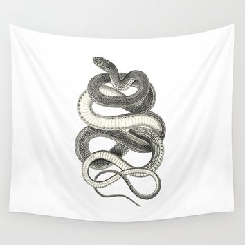 snake vintage style print serpent black and white 1800's Wall Tapestry by luxorama