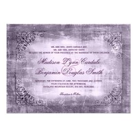 Rustic Vintage Frame Purple Wedding Invitations
