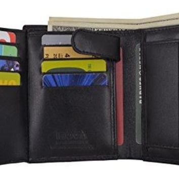 Genuine Leather Men's Hipster Flap Out Bifold Trifold Hybrid Wallet With Snap Pocket by Moga (1, Black)