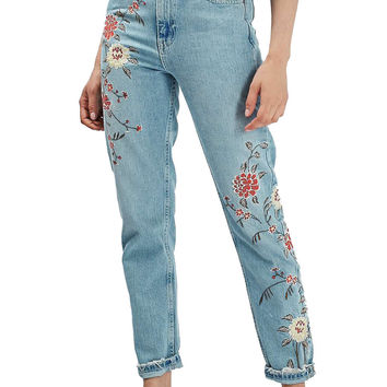 Cocominibox Women's Spring Autumn Vintage Floral Embroidery Jeans High Waist Straight Ankle-Length Trousers Denim Pants