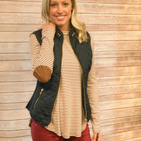 Burgundy & White Striped Top with Elbow Patches
