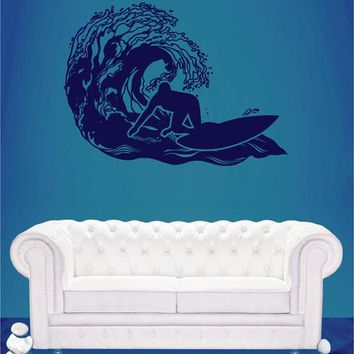 ik2592 Wall Decal Sticker wave surfing board sports shop stained living room