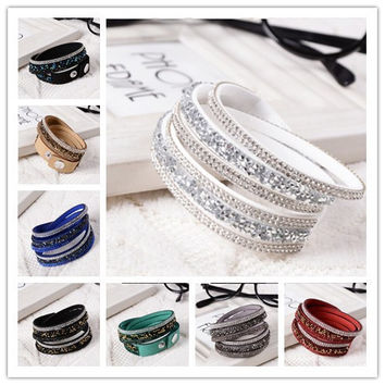 New Fashion 6 Layer Wrap Bracelets Slake Leather Bracelets for Women With Crystals Couple Jewelry Pink