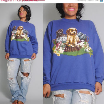 SALE Vintage 80s 90s Oversize Oversized blue Cutesy kitten puppy dog retro cartoon animal novelty  long sleeve Sweatshirt