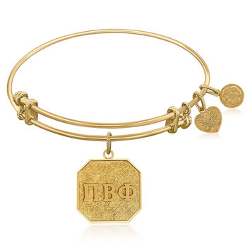 Expandable Bangle in Yellow Tone Brass with Pi Beta Phi Symbol