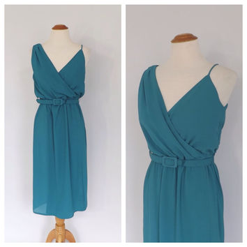 Vintage 80s does 1960s Dark Teal Dress Structured Chiffon Wiggle Dress Bombshell Ferrali by Phillipe Cocktail Dress 60s Couture Party Dress