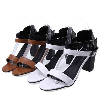 Ankle Strap Sandals Chunky High Heels Shoes Woman 7973