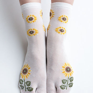 Women New Hezwagarcia Must Have Japan Edition High Quality Tabby Split Toe Socks Sun Flower White