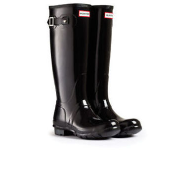 HUNTER ORIGINAL TALL GLOSS BLACK WELLINGTON BOOTS Welly SZ 9 BN