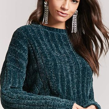 Ribbed Chenille Cropped Sweater
