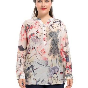 Women Long Sleeves Plus Size Ink-wash Painting Print Blouse Top