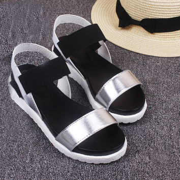 Women's Summer Sandals Shoes Peep-toe Low Shoes Roman Sandals Ladies Flip Flops zapatos mujer #0614SW