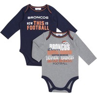 Denver Broncos 2-pk. Now This is Football Bodysuits - Baby