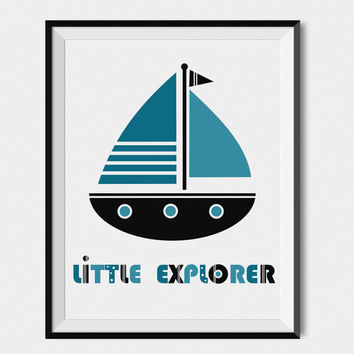 Kids Wall Art Print, Kids Print, Boy Nursery Art, Playroom Decor, Boys Room Decor, Sail Boat Art For Boys Room, 8x10 Print, Blue Nursery Art