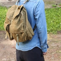 1950's Vintage Army Backpack Canvas Military Rucksack