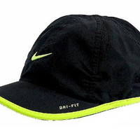 Nike Boy's Dri-Fit Baseball Cap Embroidered Logo Hat (4/7, Black/Volt)