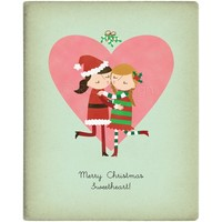 CUSTOMIZED Christmas Mistletoe Lesbian Kiss - 8 x 10 Print