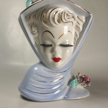 "LEFTON HEAD VASE - Vintage, 1950's -  Blue ""June"" - no Label"