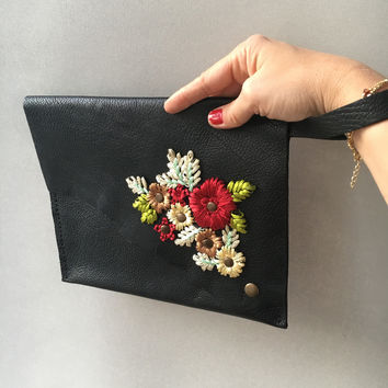 Black Leather Clutch, genuine leather