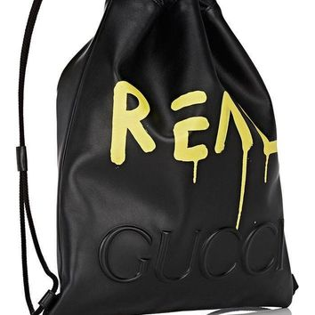 Black Leather Gucci Ghost Drawstring Backpack