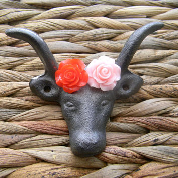 Cast Iron Wall Hook, Red Rose, Pink Roses, Longhorn Drawer Pull, Rustic Home Decor, Animal Hook, Western Rustic Decor,Towel Hook, Key Hook,