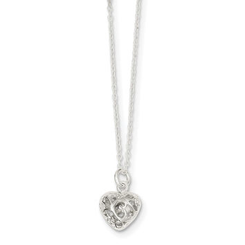 Sterling Silver Polished Puffed Heart Necklace QG2896
