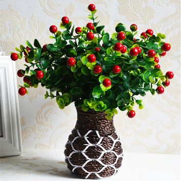Green Artificial Plants Fake Floral Plastic Silk Flowers Eucalyptus Plant Flowers Office Hotel Table Decor Artificial Grass