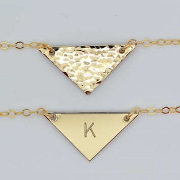 Delicate Gold Triangle Necklace, Minimalist Necklace, Geometric Jewelry, Tiny Silver or Rose Gold Triangle Necklace