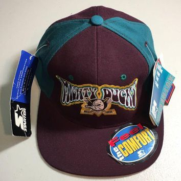 CUPUPI8 STARTER ORIGINAL PURPLE MIGHTY DUCKS FITTED HAT SIZE 1 (6 5/8- 7 1/8)