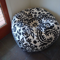 Bold Black and White Suzani print bean bag chair made upon ordering