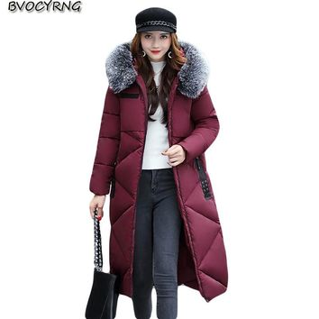 High Quality Feather Cotton Women Winter Coat Heavy Hair Collar Loose Long Thickening Parka Elegant Fashion Warm Jacket CoatQ754