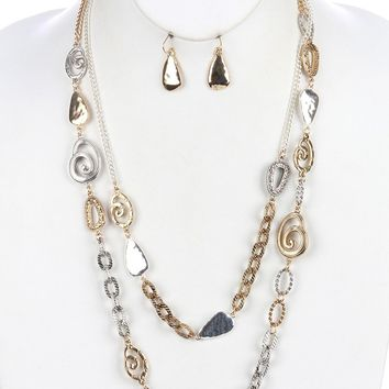 Spiral  Ring Double Layer Chain Two Tone Irregular Shape Plate Hammered Necklace Earring Set