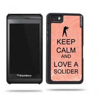 Keep Calm And Love A Solider Coral Floral Blackberry Z10 Case - For Blackberry Z10