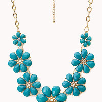 FOREVER 21 Vibrant Floral Bib Necklace Teal One