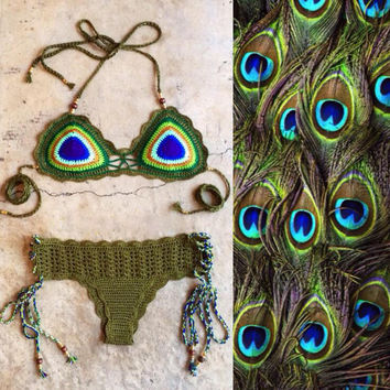 Boho Peacock Hand-Woven Beach Bikini Set Swimsuit Swimwear