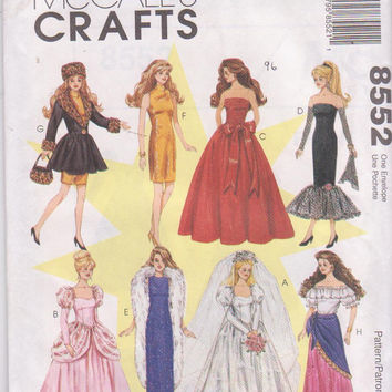 Pattern for formal wardrobe, costumes for 11.5 inch Barbie doll with wedding dress 8 outfits McCall's 8552 CUT and COMPLETE